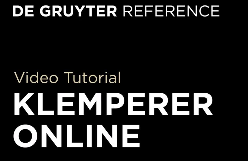 Klemperer Online Tutorial